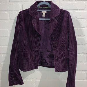 Elevenses purple soft corduroy jacket blazer 6 EUC